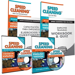 Speed Cleaning™ DVD with Speed Cleaning for Pros Book plus Workbook/Quiz all in Spanish and English (6 items)
