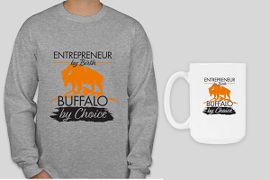 T Shirt + Mug -  Entrepreneur By Birth (Gray Long Sleeve) Ships in 3 - 6 weeks from order date