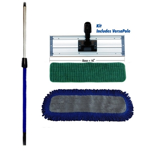 Microfiber Wet/Dry Mop Kit -  Includes VersaPole, Base, 4 Wet Pads, 1 Dry Pad