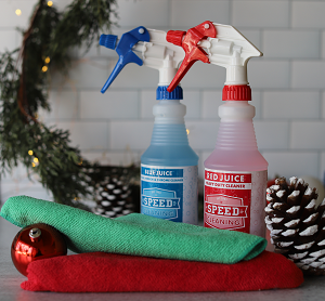Speed Cleaning™ 16 oz. Bottle of Red and Blue Juice Ready-To-Use FREE Microfiber Dusting and Cleaning Cloth Set 1 Red 1 Green SAVINGS!